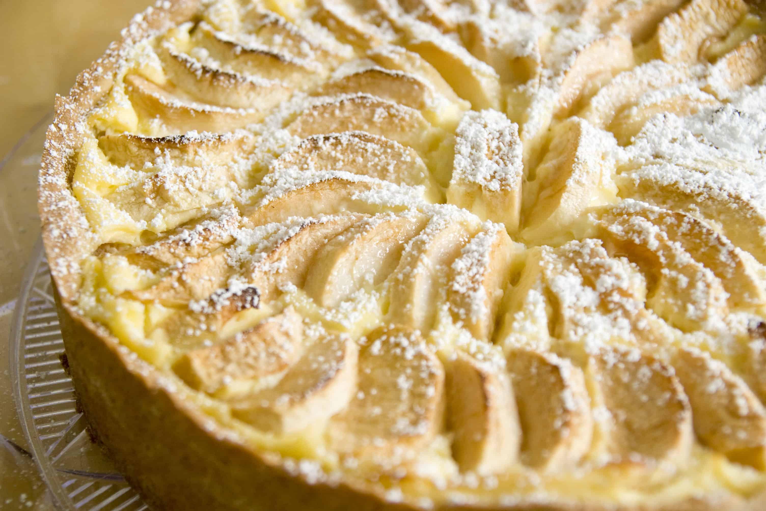 gesunde Rezepte Apfelkuchen mit Pudding und Schmand
