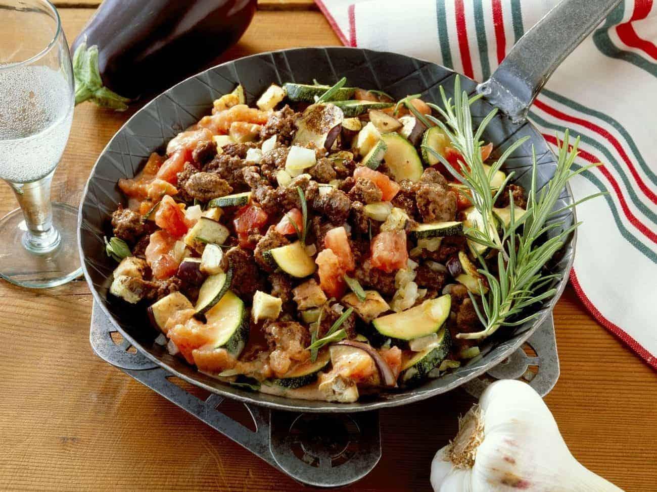 Kalorienarmes Rezept für Fleisch Gemüse Pfanne