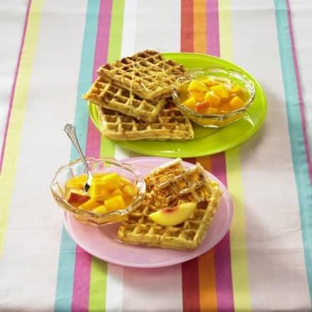 Waffeln einfach – gesundes Rezept mit Buttermilch und Mango