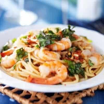 pikante Spaghetti mit Garnelen selber zubereiten