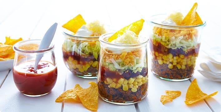 Taco Salat Im Glas Zuberiten Fur Eine Party Oder Picknick