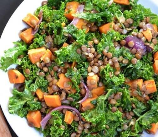 Rote Linsen Salat Rezept mit Grünköhl und Süsskartoffeln