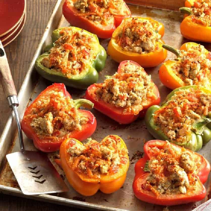 Gefüllte Paprika mit Putenfleisch, ohne Reis