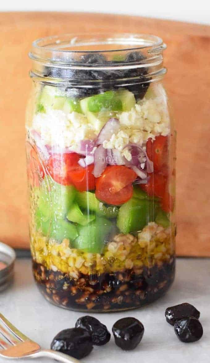 Salat im Glas – griechischer Art
