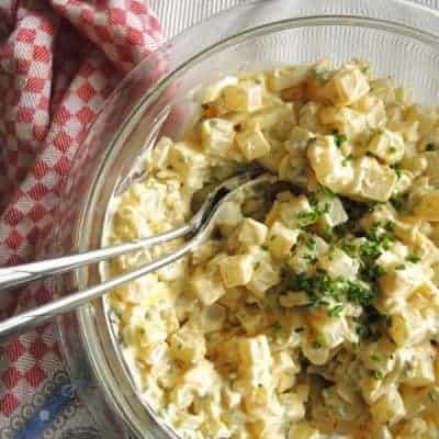 low carb Kartoffelsalat mit Kohlrabi und Mayo