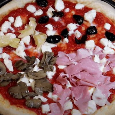 Pizza Quattro Stagioni, fertig zum Backen