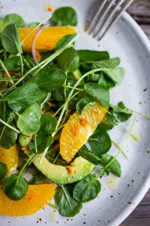 Kresse Salat, Avocado und Orange in 15 Min.