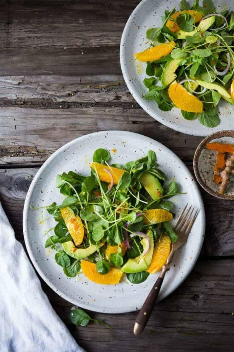 Weihnachtsgerichte Kresse Salat mit Orange